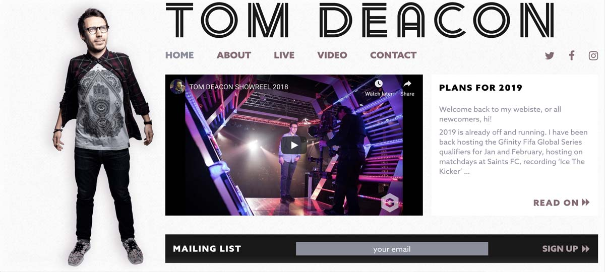 LUA website design for Tom Deacon